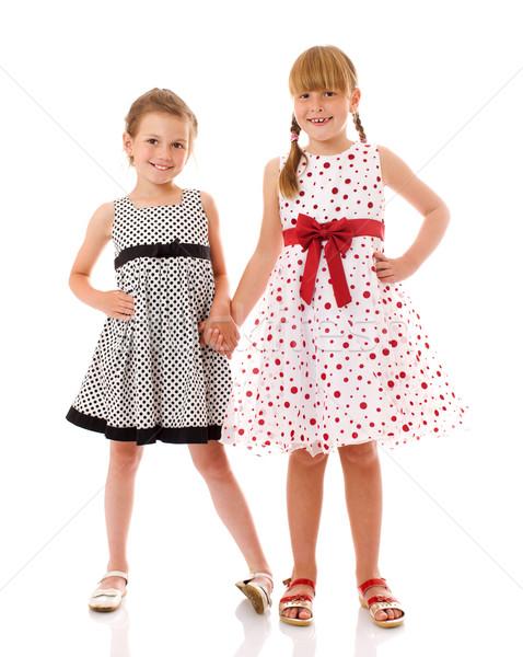 Feliz pequeno irmãs dois isolado branco Foto stock © sapegina