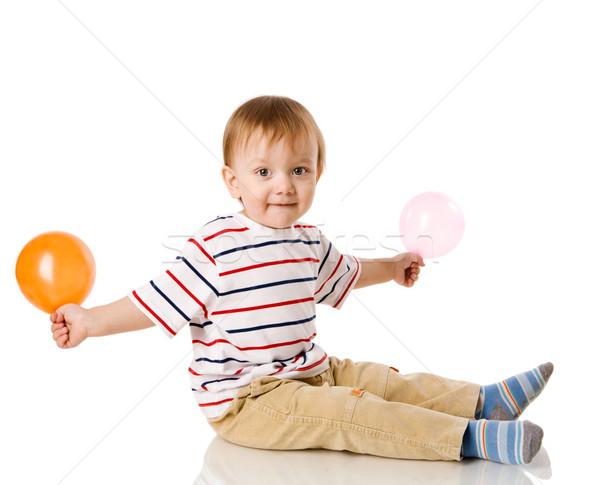 ストックフォト: 少年 · 演奏 · バルーン · 孤立した · 白
