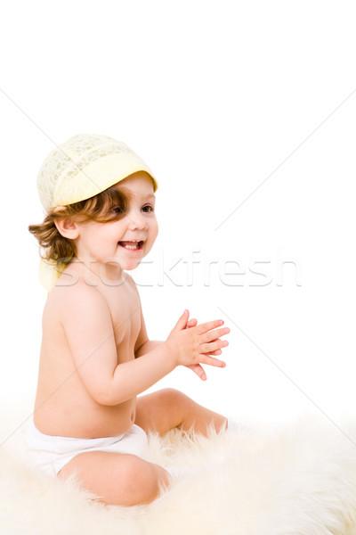 Kislány egyéves visel Panama izolált fehér Stock fotó © sapegina