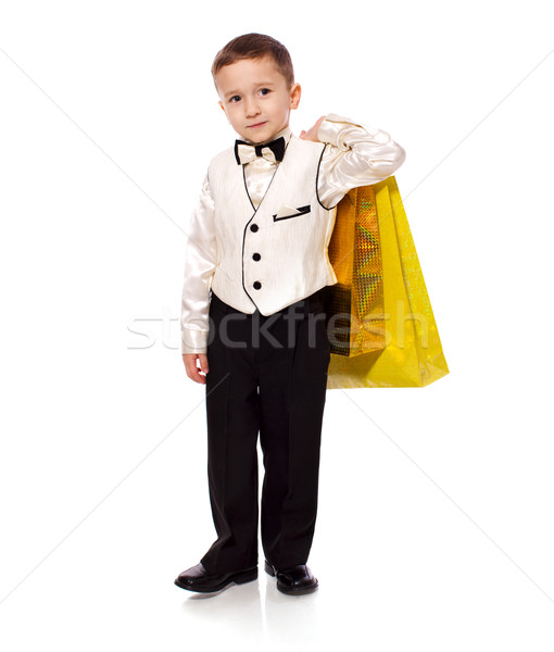 Boy holding presents Stock photo © sapegina