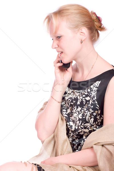 Hablar teléfono rubio mujer teléfono móvil aislado Foto stock © sapegina