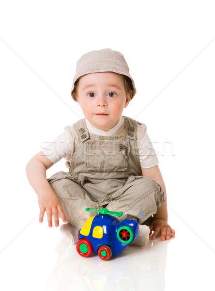 Erkek oynama bebek renkli araba oyuncak Stok fotoğraf © sapegina