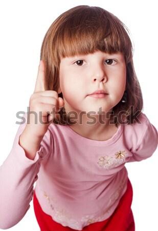 Meisje verwonderd kort haar bruine ogen kind Stockfoto © sapegina