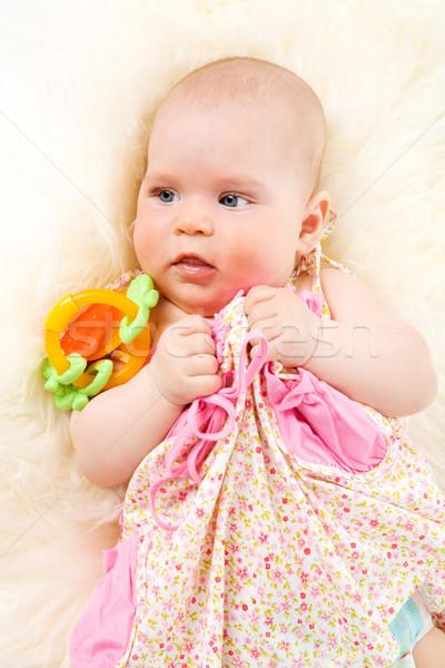 Altı ay kız oynama oyuncaklar Stok fotoğraf © sapegina