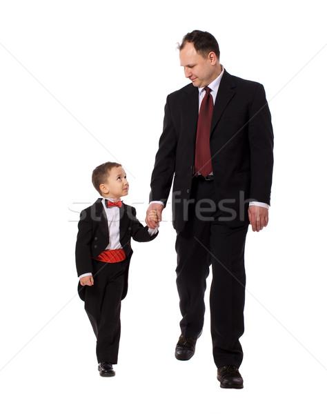 Gelukkig vader lopen samen zoon geïsoleerd Stockfoto © sapegina