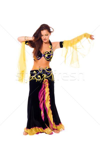Stok fotoğraf: Göbek · dansçı · güzel · genç · esmer · dans
