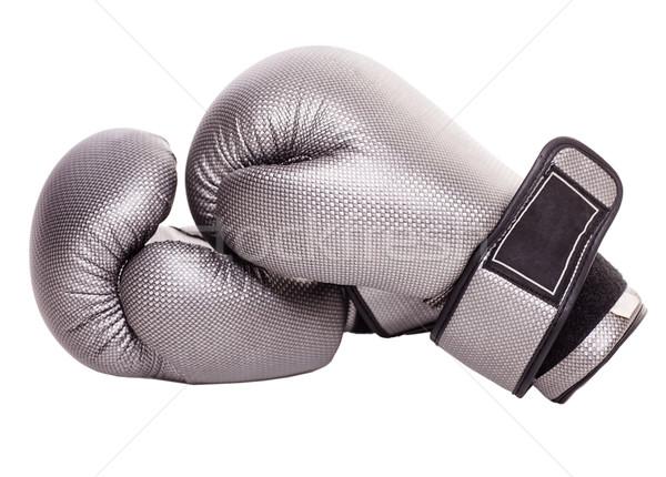 Bokshandschoenen geïsoleerd grijs witte hand achtergrond Stockfoto © sapegina