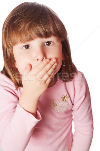 Dziewczyna usta zamknięty mały blond odizolowany Zdjęcia stock © sapegina