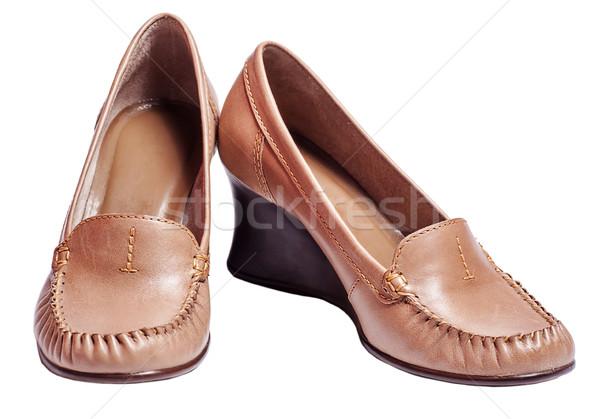 Brown tankette Shoes Stock photo © sapegina