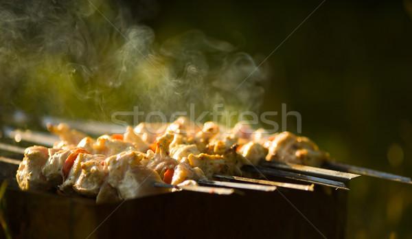 кебаб процесс приготовления открыть огонь улице продовольствие Сток-фото © sapegina
