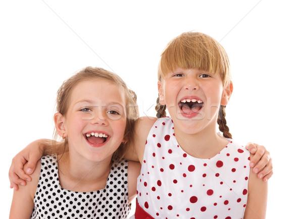 Feliz pequeno irmãs dois retrato isolado Foto stock © sapegina
