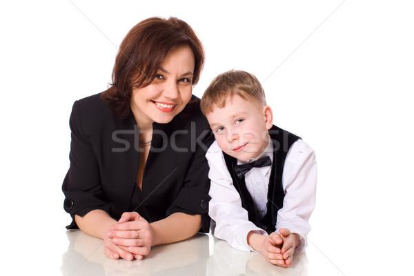 Anne oğul birlikte yalıtılmış beyaz kadın Stok fotoğraf © sapegina