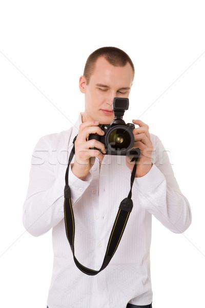 Fotoğrafçı genç doğru atış yalıtılmış Stok fotoğraf © sapegina