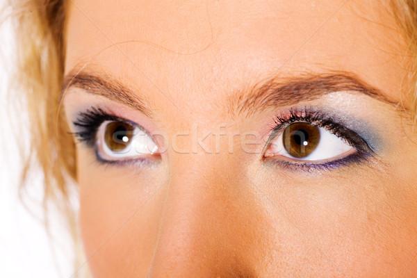 Ojos marrones primer plano hermosa joven ojos jóvenes Foto stock © sapegina