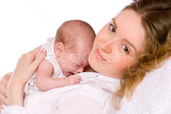Anne ağlayan bebek mutlu yalıtılmış Stok fotoğraf © sapegina