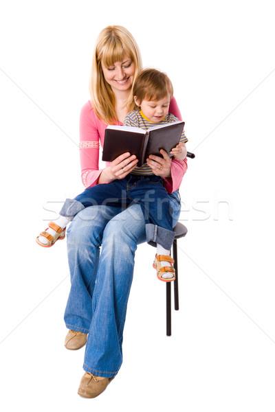 Foto stock: Mãe · leitura · livro · filho · isolado · branco