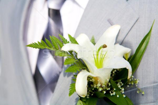 Stockfoto: Knoopsgat · lelie · detail · bruiloft · bloem · man