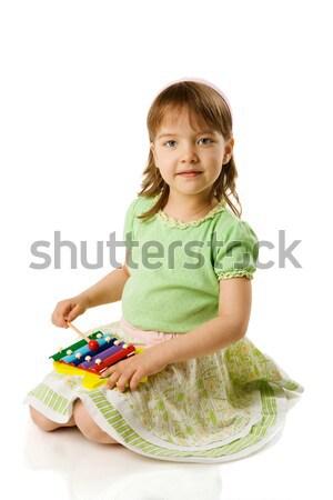少女 演奏 木琴 孤立した 白 学校 ストックフォト © sapegina