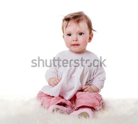 ストックフォト: かわいい · 赤ちゃん · 座って · 好奇心の強い · 毛皮 · 見える
