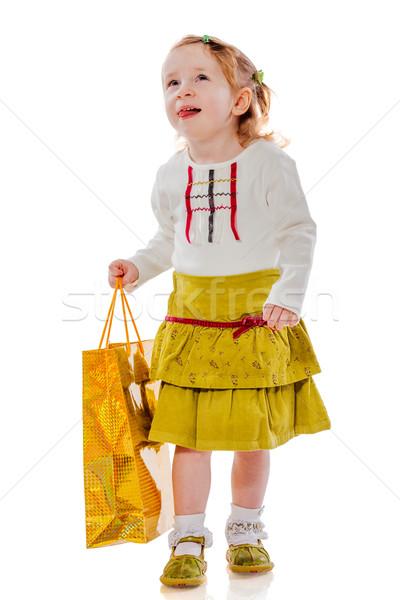 Stockfoto: Meisje · presenteert · zak · grappig · twee