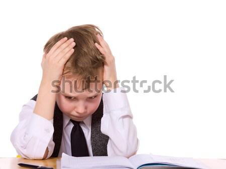 расстраивать школьник домашнее задание изолированный белый лице Сток-фото © sapegina