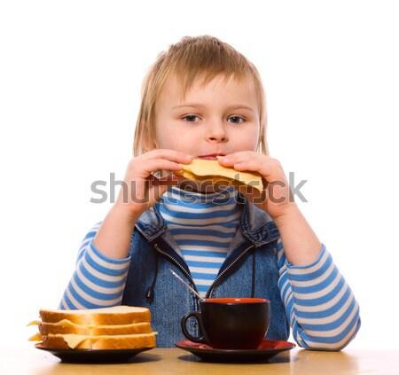 Girl eating sandwich Stock photo © sapegina