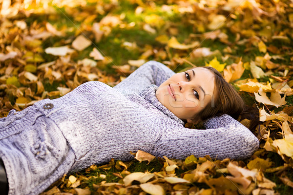 Gülen genç kadın mutlu portre sonbahar açık havada Stok fotoğraf © sapegina