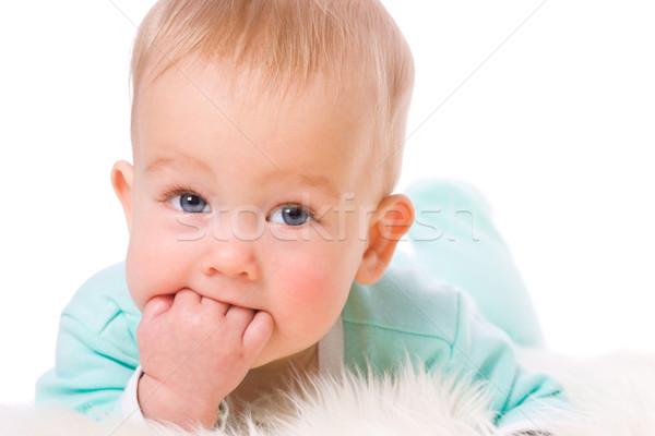 ребенка пальцы глядя изолированный белый девушки Сток-фото © sapegina