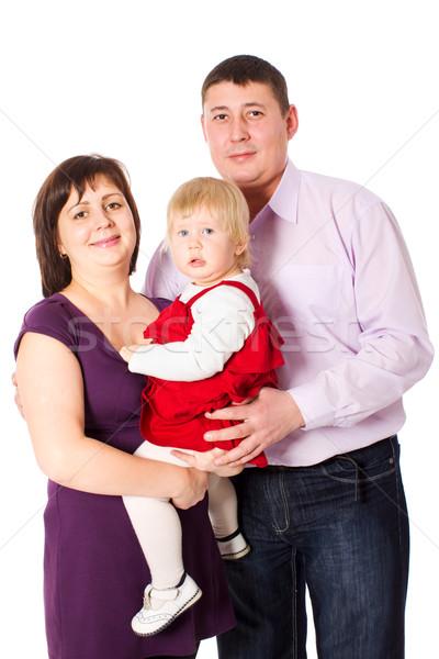 Família feliz posando filha juntos isolado branco Foto stock © sapegina