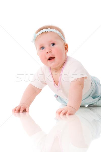 Bebek altı ay gülen yalıtılmış Stok fotoğraf © sapegina