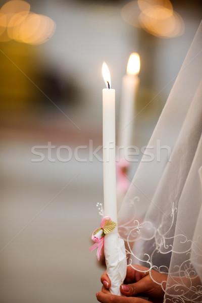 Свадебная церемония два свечей вуаль Церкви свадьба Сток-фото © sapegina