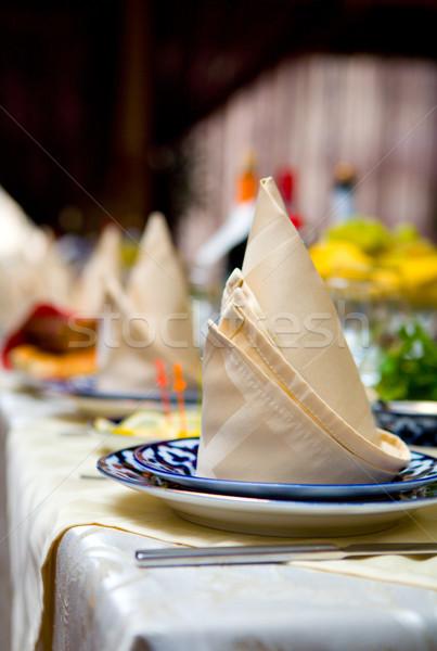 Restoran tablo içkiler peçete Stok fotoğraf © sapegina