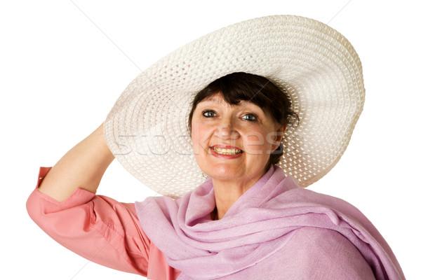 Olgun kadın portre yalıtılmış beyaz mutlu Stok fotoğraf © sapegina