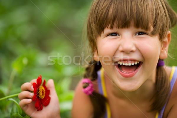 Gülme kız mutlu beş yıl açık havada Stok fotoğraf © sapegina
