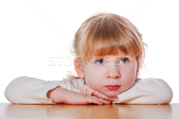 Dalgın küçük kız portre çocuk yalıtılmış Stok fotoğraf © sapegina