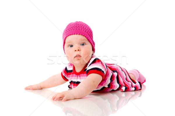 Altı ay kız yalıtılmış beyaz Stok fotoğraf © sapegina