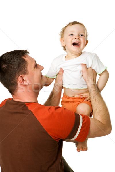Apa fia boldog apa tart kisgyerek fiú Stock fotó © sapegina