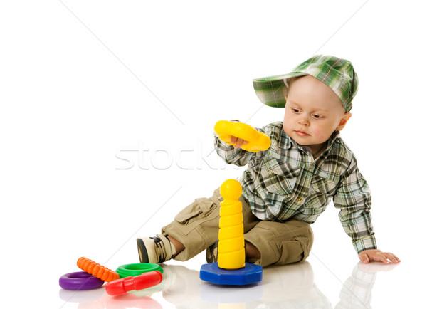boy collecting pyramid Stock photo © sapegina