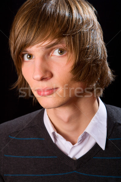 Jonge man jonge ernstig man zwarte gezicht Stockfoto © sapegina