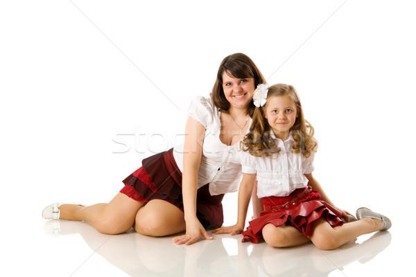 Stok fotoğraf: Anne · kız · poz · birlikte · yalıtılmış · beyaz