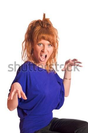 Wściekły kobieta odizolowany biały Zdjęcia stock © sapegina