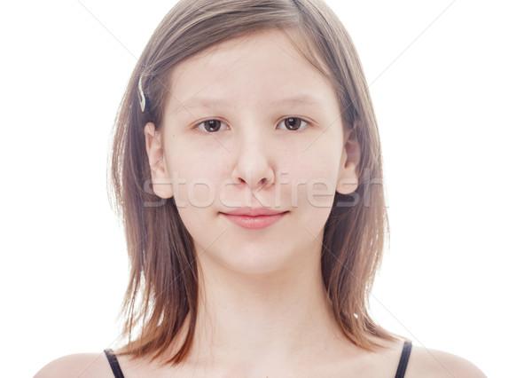 Genç kız yalıtılmış dalgın genç kız gülen bakıyor Stok fotoğraf © sapegina