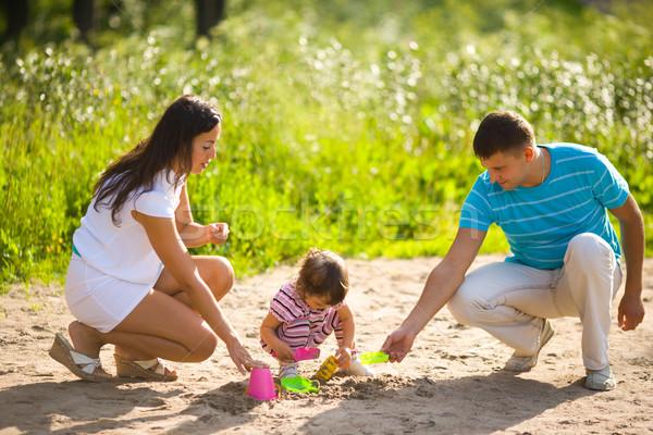 Сток-фото: счастливая · семья · играет · Kid · вместе · лет · улице