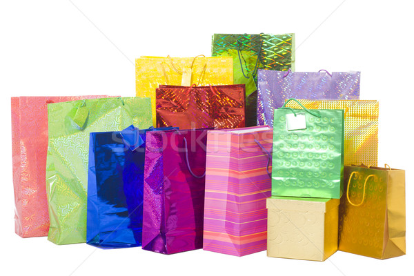 Hediyeler çanta renkli hediyeler Stok fotoğraf © sapegina