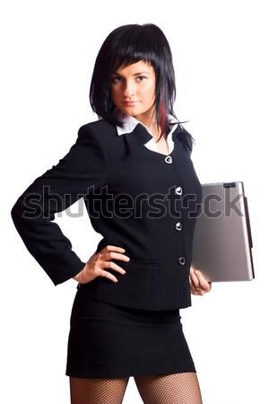 Iş kadını dizüstü bilgisayar yalıtılmış beyaz iş bilgisayar Stok fotoğraf © sapegina