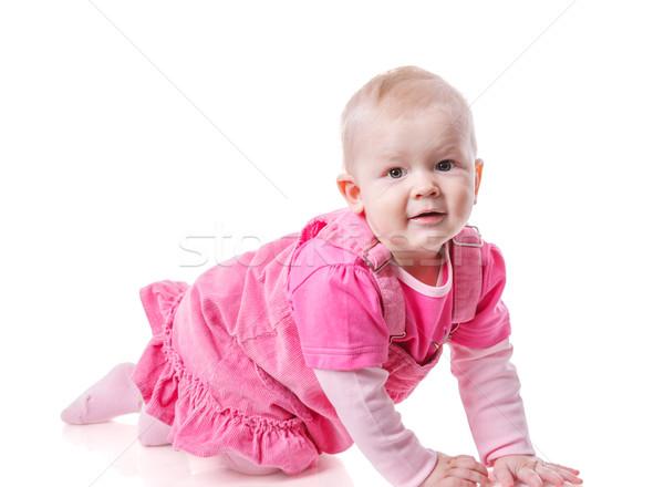 Criança menina feliz retrato isolado Foto stock © sapegina