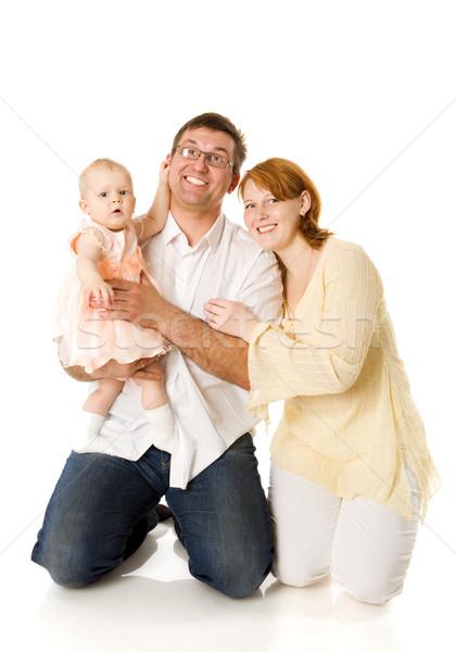 Boldog család anya apa egy év baba Stock fotó © sapegina