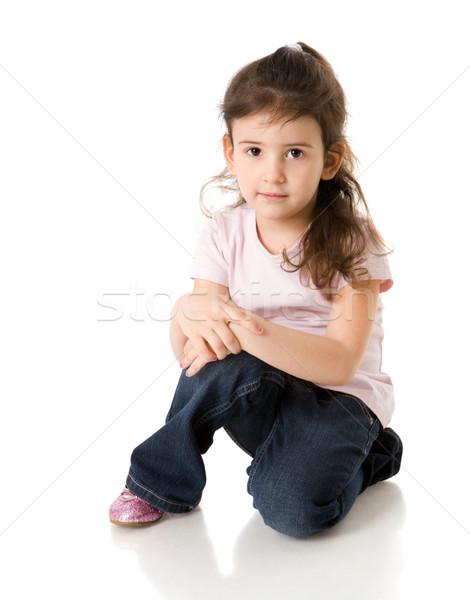 öt évek lány derűs bámul izolált Stock fotó © sapegina