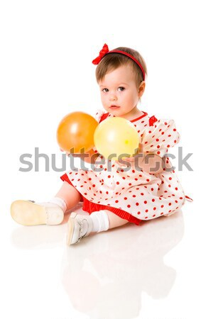 Kız balon bir yıl oturma Stok fotoğraf © sapegina