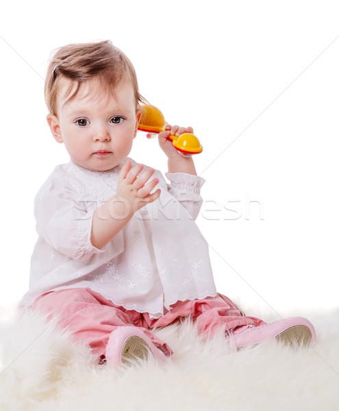 девушки играет греметь один год Сток-фото © sapegina